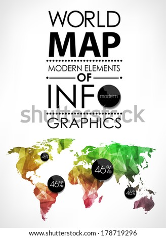 Polygonal World map card. Modern geometrical elements of info graphics. World Map, typography. - stock vector