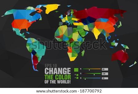 Polygonal world map on dark background - stock vector