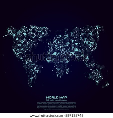 Polygonal world map point line composition stock vector 589135748 polygonal world map point and line composition global network connection continent and planet gumiabroncs Images