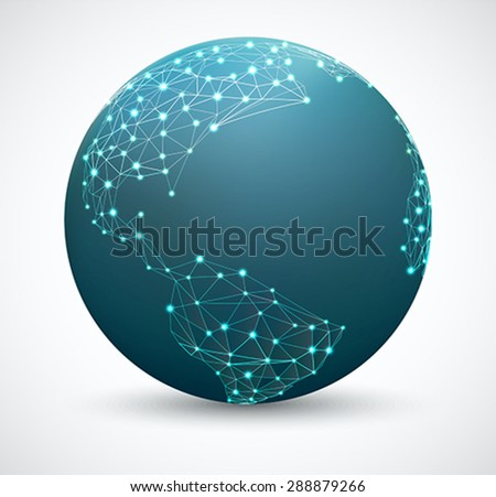 Polygonal world map with points. Network connections, network globe - stock vector