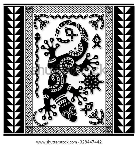 Polynesian tattoo art, sacred geometry, lizard on Maori pattern background. Snake, fish, sun and bird symbols. Stock vector. - stock vector