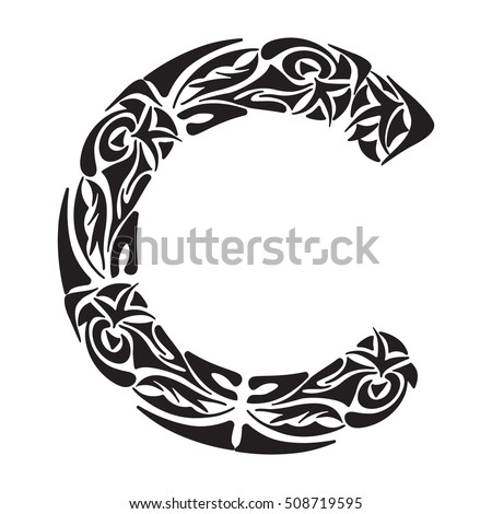 Polynesian Tattoo Initials Boho Capital Letter C Vector Illustration For Coloring Page Tattoos