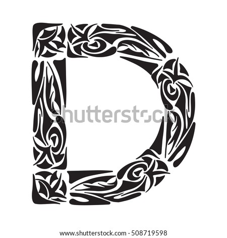 Boho Capital Letter D Vector Illustration For Coloring Page Tattoos