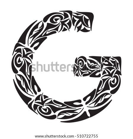 Polynesian Tattoo Initials Boho Capital Letter G Vector Illustration For Coloring Page Tattoos
