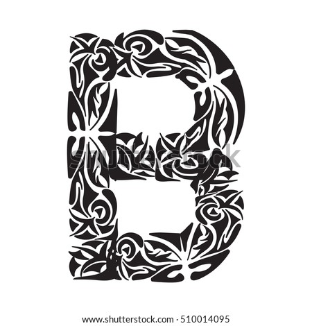 Polynesian Tattoo Initials Capital Letter B Vector Illustration For Coloring Page Tattoos