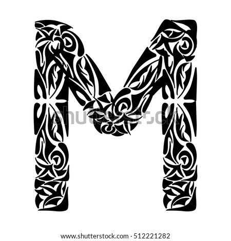 Polynesian tattoo initials tribal capital letter stock vector polynesian tattoo initials tribal capital letter m vector illustration for coloring page tattoos altavistaventures Gallery