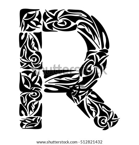 Tribal Capital Letter R Vector Illustration For Coloring Page Tattoos