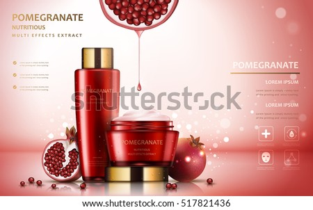 Pomegranate cream ads, attractive fruit ingredients with cosmetic package and sparkling effects, 3d illustration