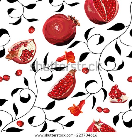 Pomegranate seamless vector background, EPS10 file - stock vector