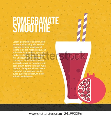 Pomegranate smoothie vector concept. Menu element for cafe or restaurant with energetic fresh drink made in flat style. Fresh juice for healthy life. Organic raw shake.  - stock vector