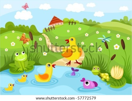 pond - stock vector