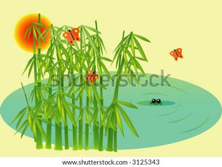 pond illustration - stock vector