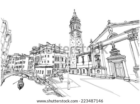 Ponte del Mondo Novo, Campo S.Maria Formosa. Venice, Italy. Black and white vector sketch - stock vector