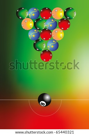 Pool balls with christmas ornaments
