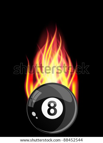 Pool Billiards Ball in Fire. Vector illustration. - stock vector