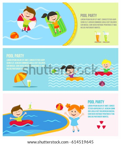Pool Party 3 Colorful Banners Invitation Stock Vector 614519645 ...