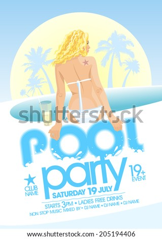 Pool party design template. Eps10 - stock vector