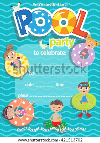 Pool party. Invitation template card. Kids fun in pool - stock vector