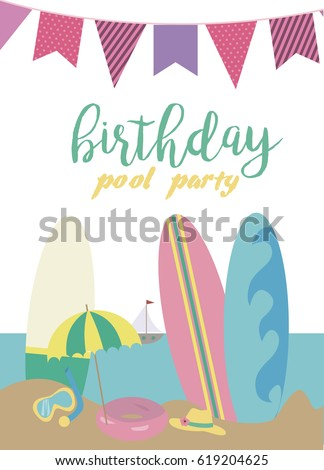 Pool party invitation template card summer stock vector 619204625 pool party invitation template card summer beach party vector illustration stopboris Images