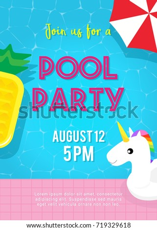 pool party invitation vector illustration topのベクター画像素材