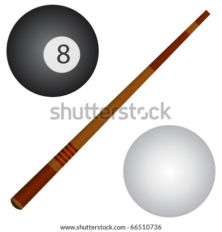 Pool / snooker cue, white and black balls. - stock vector