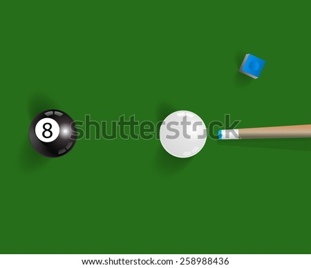 Pool table background with white and black  pool ball, chalk and cue
