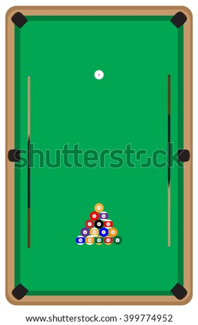 Pool table with balls and cue. Pool billiards and pool balls,  billiard table and snooker table, game room snooker, sport game pool, hobby and leisure play. Vector flat design illustration - stock vector