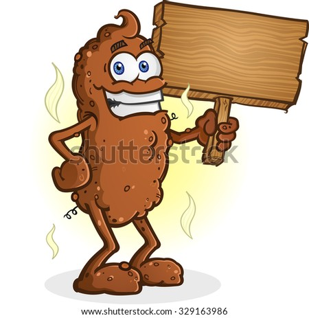 Poop Cartoon Character Standing and holding a Sign