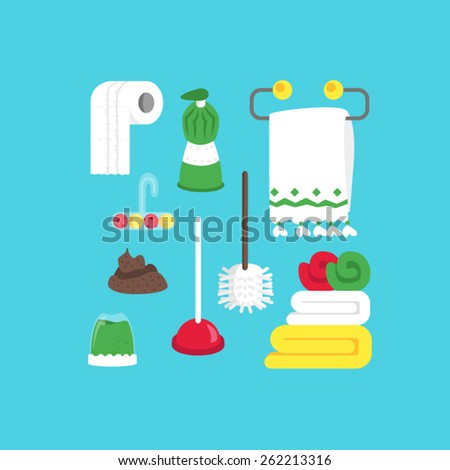 Poop, cleaning equipment and soap - stock vector