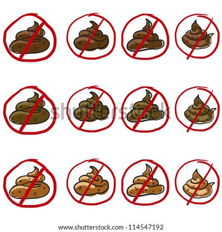 Poop or feces set - stock vector