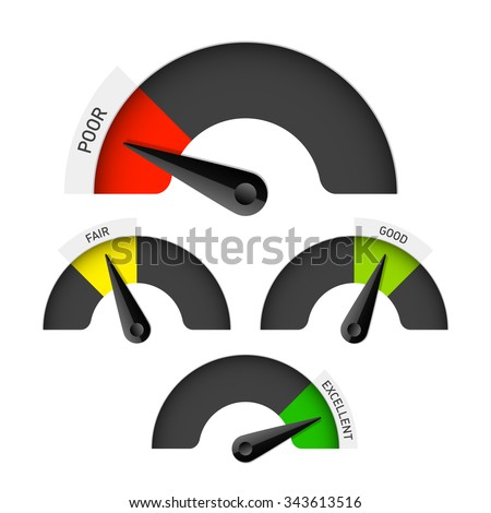 Poor, fair, good and excellent colorful gauge. Vector. - stock vector