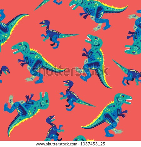 Pop And Colorful Cute Dinosaurs Vector Seamless Pattern Background Wallpaper