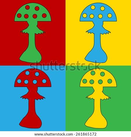 Pop art amanita symbol icons. Vector illustration. - stock vector