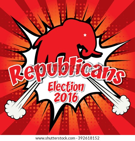 Pop Art American Republicans Elephant Vector Illustration. Election 2016. Vote for America.  - stock vector
