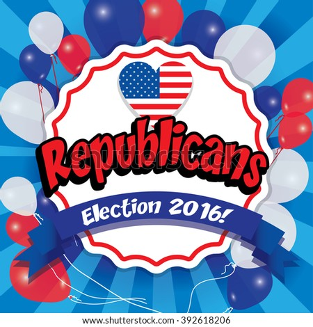 Pop Art American Republicans Vector Illustration with USA flag. Election 2016. Vote for America. - stock vector