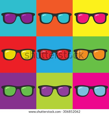 Pop art and sunglasses - stock vector