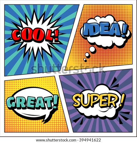 Pop Art Banner. Comics Style. Expressions Set. Bubbles Set. Cool, Idea, Great, Super. Halftone Background. Vector illustration - stock vector