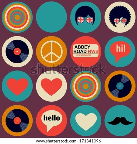 pop art british musical pattern - stock vector