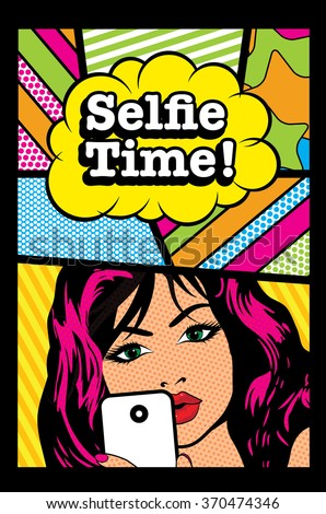 Pop art Card Vector Illustration. Woman with Phone & selfie bubble sign. - stock vector