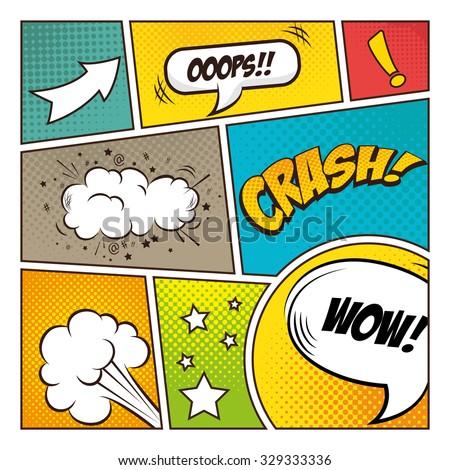 Pop art comic bubbles design, vector illustration - stock vector