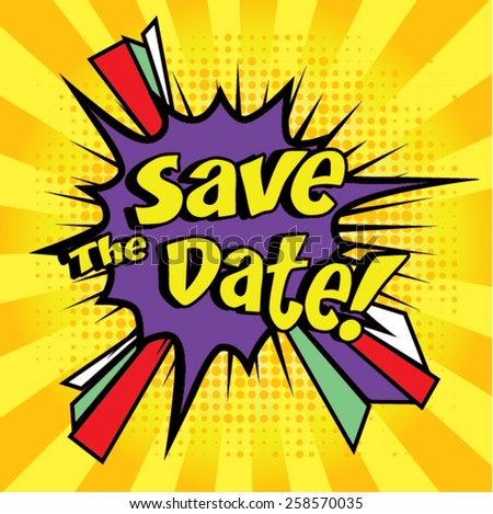 Pop Art Comics Icon Save The Date For Personal Holiday Wedding Invitation