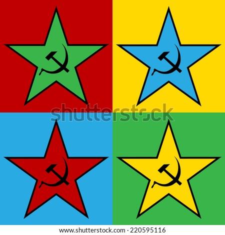 Pop art communist star, vector illustration. - stock vector