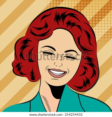 pop art cute retro woman in comics style laughing, vector illustration - stock vector