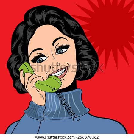 pop art cute retro woman in comics style talking on the phone, vector illustration - stock vector