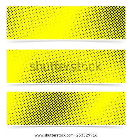Pop art dot web yellow banner collection for making print flyers headers and footers. Vector illustration - stock vector