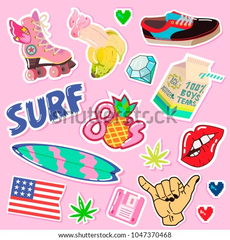 Pop art fashion patchespins badges hand stock vector 1047370468 shutterstock