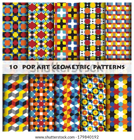 Pop Art Geometric Background Pattern  Design Template - stock vector