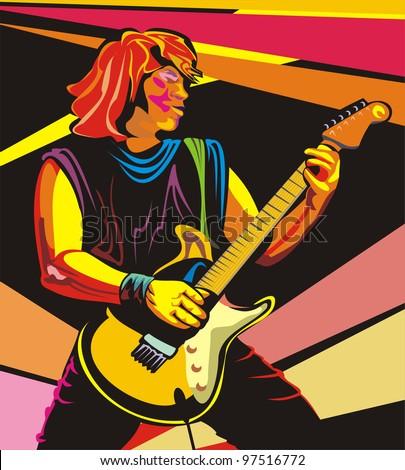 pop art guitarist - stock vector