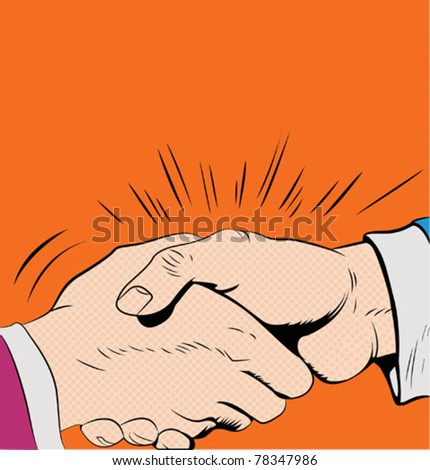 Pop art handshake - stock vector