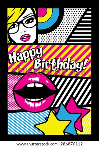 "Pop art ""Happy Birthday"" Card Vector Illustration - stock vector"